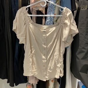 H&M Short Sleeve Top in Nude